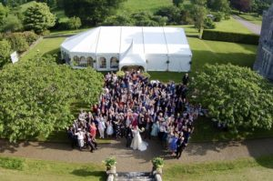 aerial shot at wedding